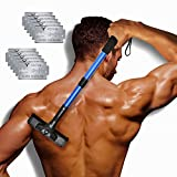 EASACE Back Groomer Back Hair Removal for Men, Back Shaver with Long Handle 21.5 Inch Adjustable, Curved DIY Body Groomer Pain-Free Shaver with 10 Refills Universal Razor Durable Double Edge (Blue)