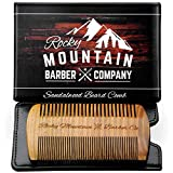 Beard Comb - Natural Sandal Wood for Hair with Scented Fragrance Smell with Anti-Static & No Snag, Handmade Fine/Medium Tooth Brush Best for Beard & Moustache Packaged in Premium Giftbox