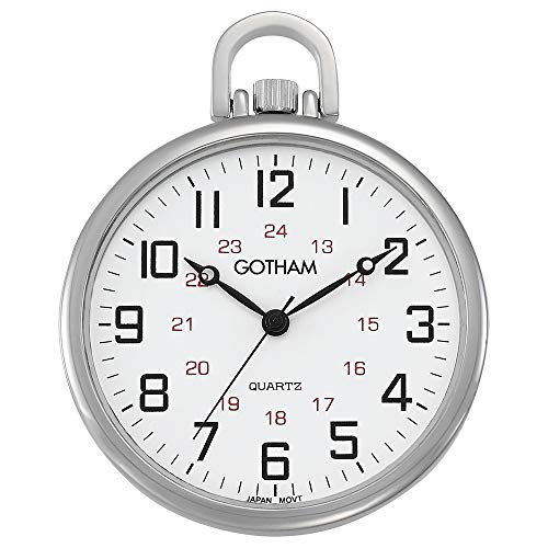 Gotham Men's Silver-Tone Ultra Thin Railroad Open...