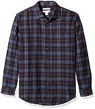 Amazon Essentials Men's Regular-Fit Long-Sleeve Plaid Flannel Shirt, Blue/Black, Medium