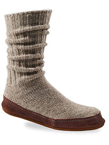 Acorn Unisex Slipper Sock, Light Grey Ragg Wool,...