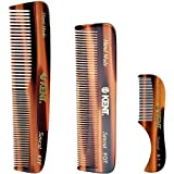 Kent Handmade Combs for Men, 81T Pocket Mustache Comb, FOT Fine Tooth Comb, and R7T Fine and Wide Tooth Comb
