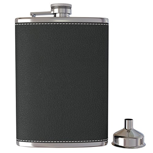 Pocket Hip Flask 8 Oz with Funnel - 18/8 Stainless...