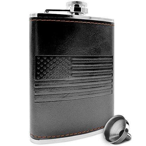 Premium Black American Flag Flask - Soft Touch...