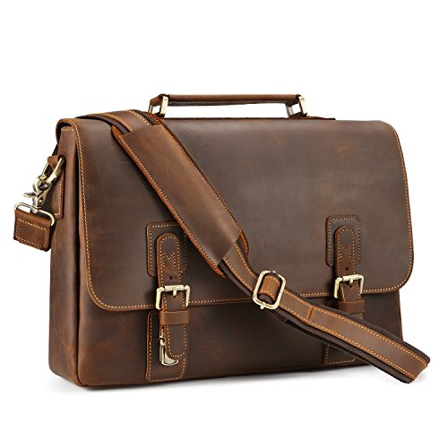 Kattee Men's Crazy Horse Leather Satchel...