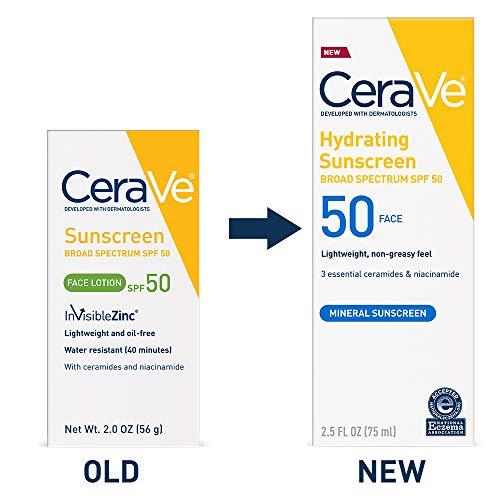CeraVe Sunscreen Face SPF 50, 2 oz, Old Formula...