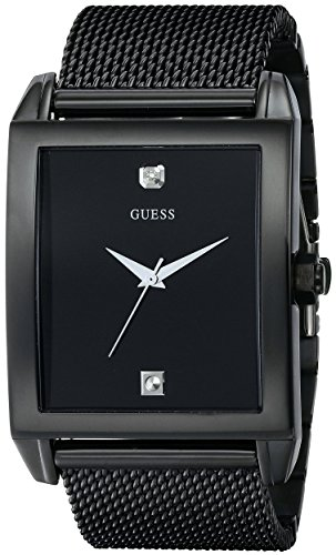 GUESS  Mesh Black Ionic Plated Rectangular Genuine...