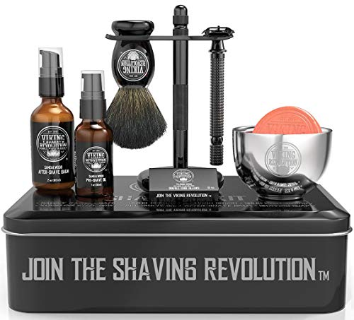 Luxury Safety Razor Shaving Kit - Includes Double...