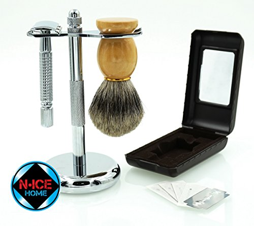 Wet Shave Kit - Shaving Kit Includes Pure Badger...