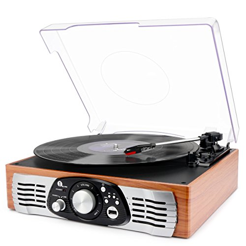 1byone Belt Drive 3 Speed Stereo Turntable with...