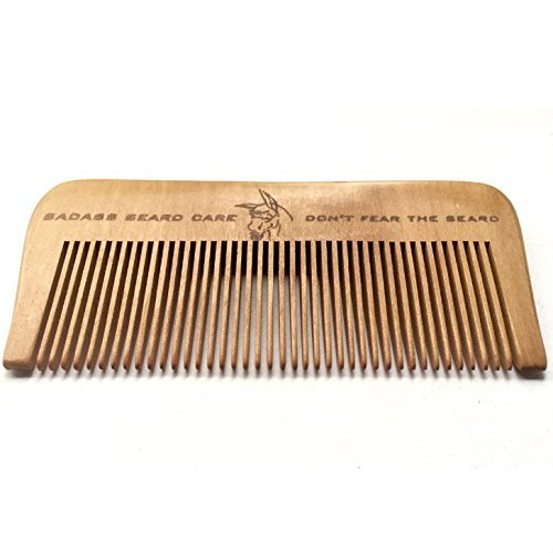 Badass Beard Care Wood Beard Comb for Men - Fine...