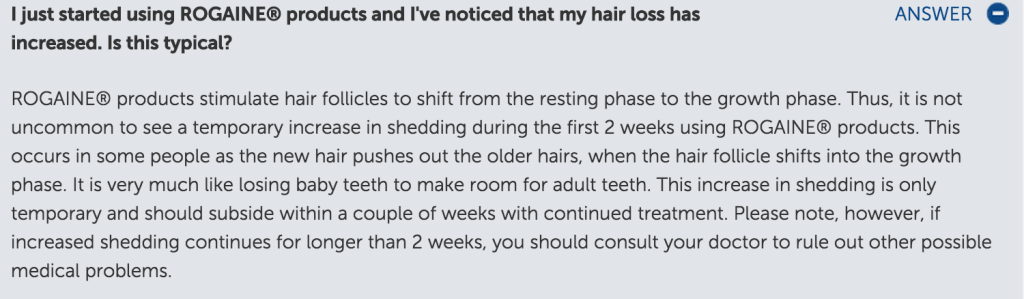 Rogaine Disclaimer of Shedding - Beard and Minoxidil