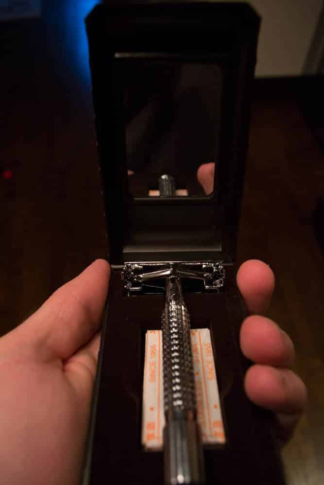 dorco prime razor fits into the palm of hand - tools of men