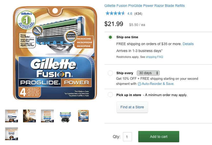gillette fusion proglide 4pk refill cost