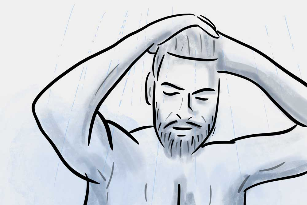 how to apply beard balm - shower first
