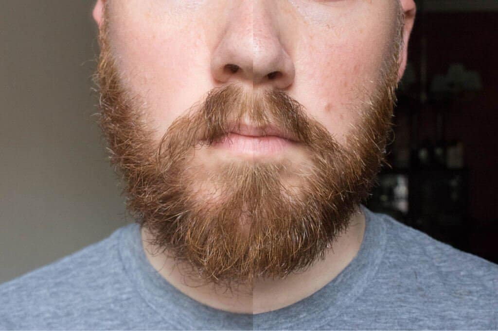 before and after beard oil and trimming