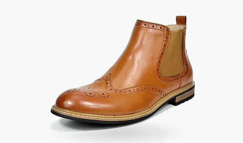 Bruno MARC BERGEN-05 Men's Classic Wing-tip Perforated Leather Lining Chelsea Ankle Boots
