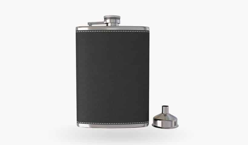 Pocket Hip Flask 8 Oz with Funnel - 18/8 Stainless Steel with Black Leather Cover