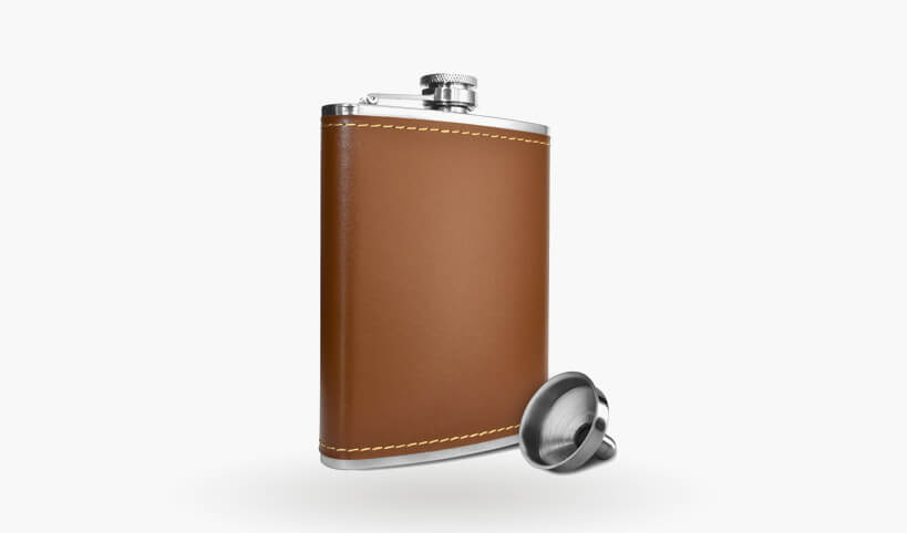 Premium 8 oz. Soft Touch Leather Wrap Outdoor Adventure Flask 304 Stainless Steel - Leak Proof