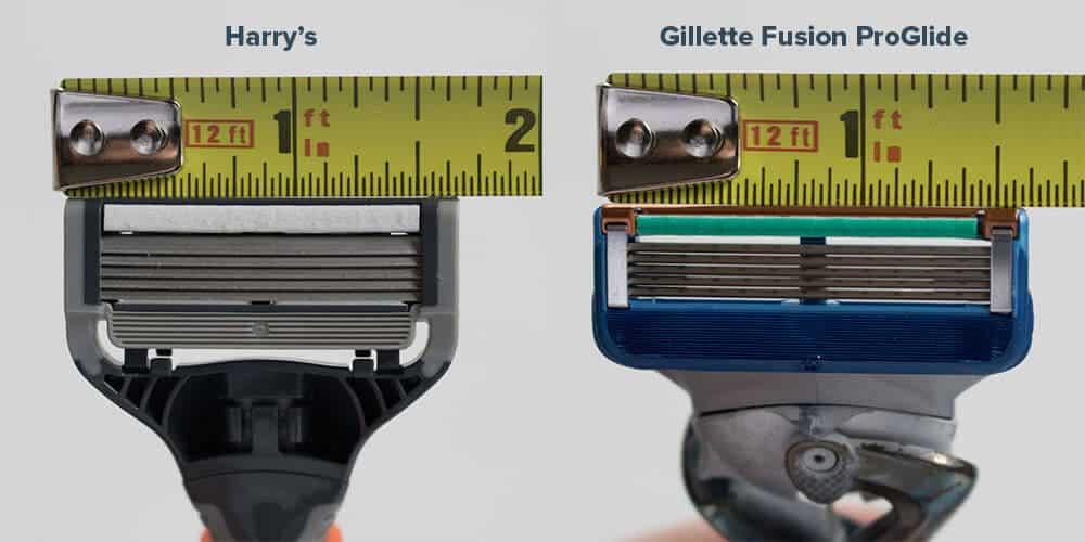 harrys review comparison - razor width