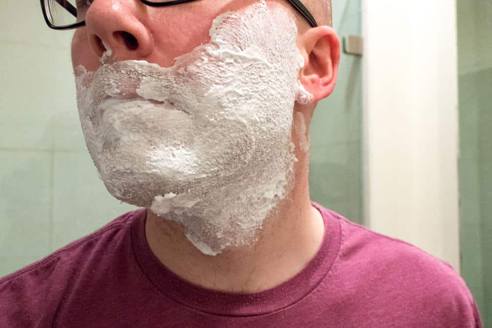 harrys review - shave cream application