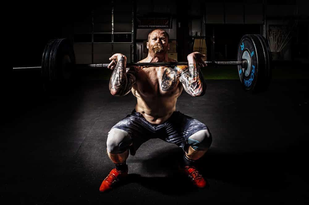 bald lifting weights