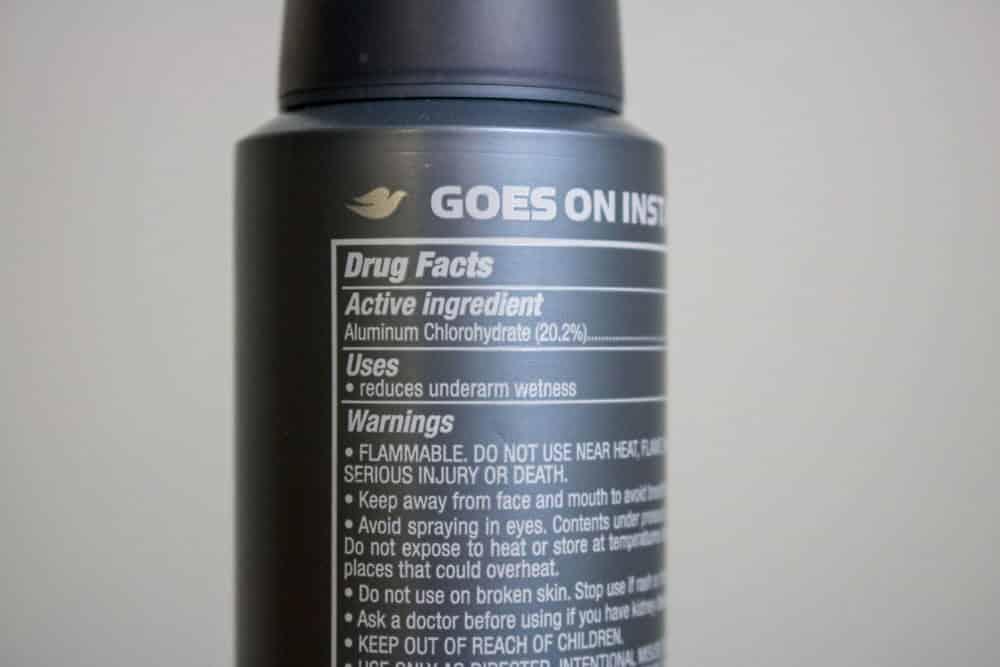 dove men deodorant with aluminum