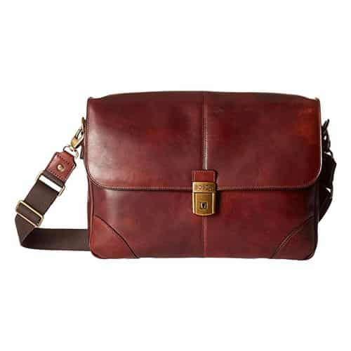 """17/"""" Men Real Goat Leather Vintage Brown Messenger Shoulder Laptop Bag Briefcase"""