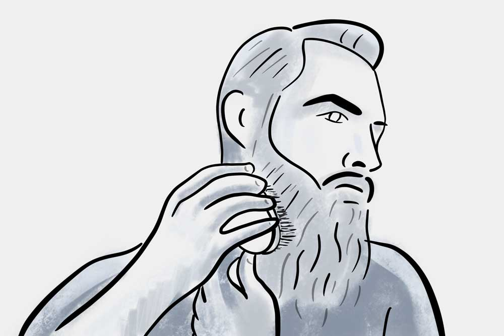 how to get the most from the best beard brush - brush beard downwards when done