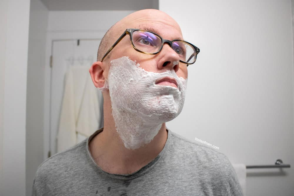 dry lather full application - shaving brush only