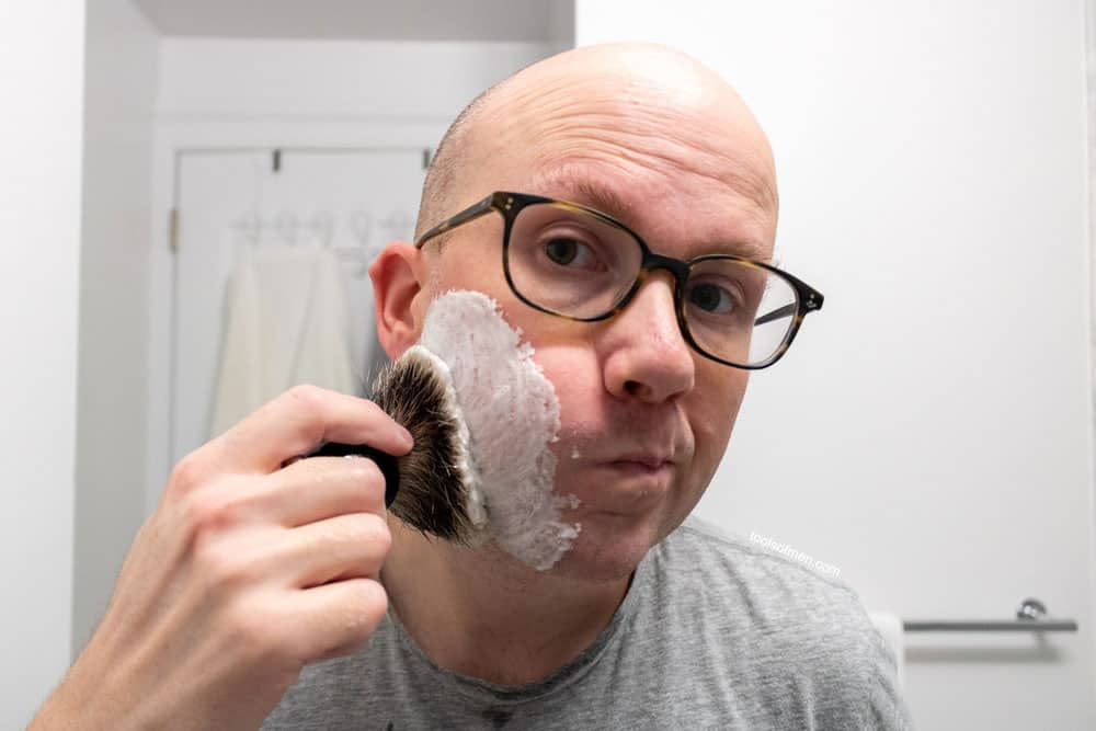 dry lather initial application with shaving brush only