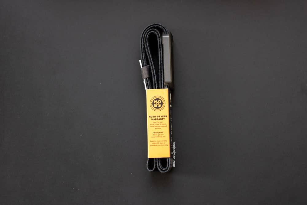 Groove Belt - Warranty information on packaging