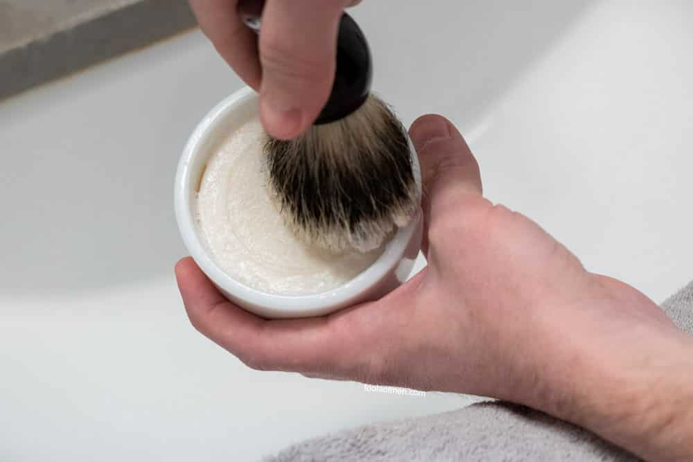 loading the bristles of a shaving brush with shave soap