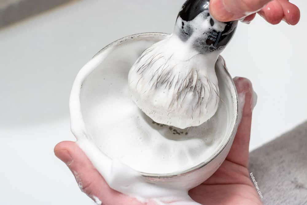 generating a lather with shaving soap