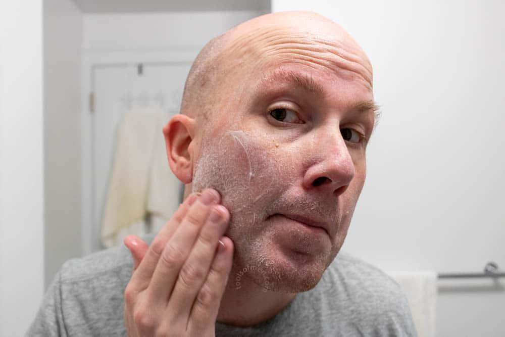 bulldog skincare review - face scrub demonstration 1