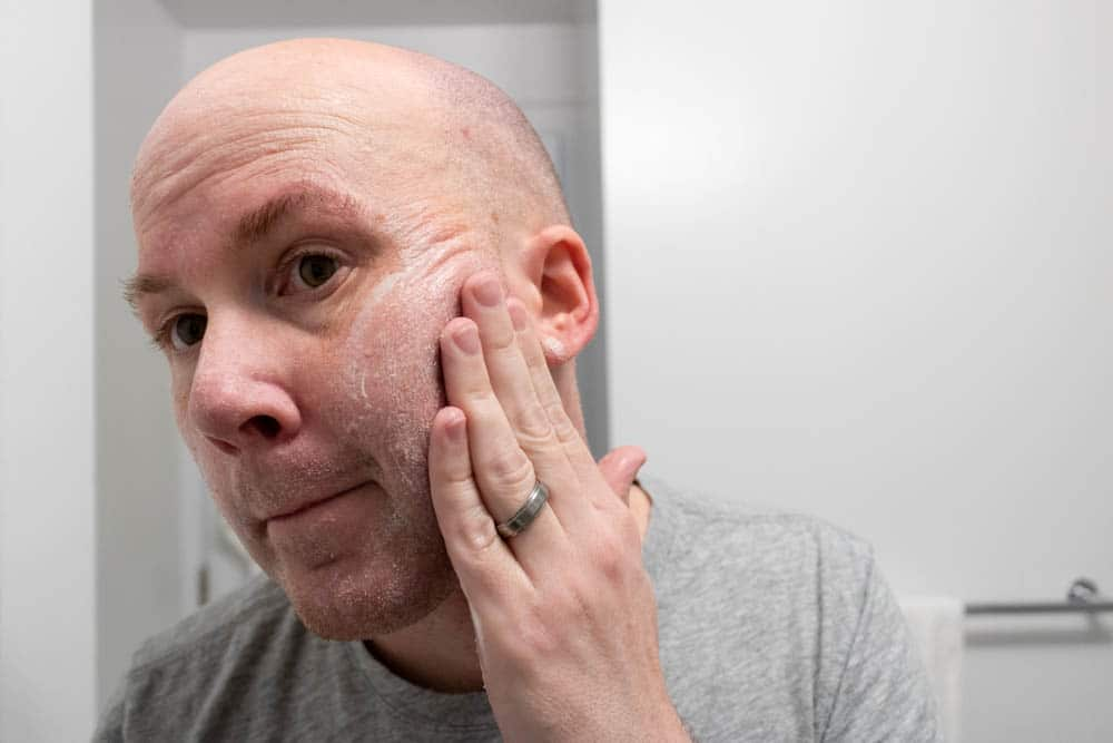 bulldog skincare review - face scrub demonstration 2