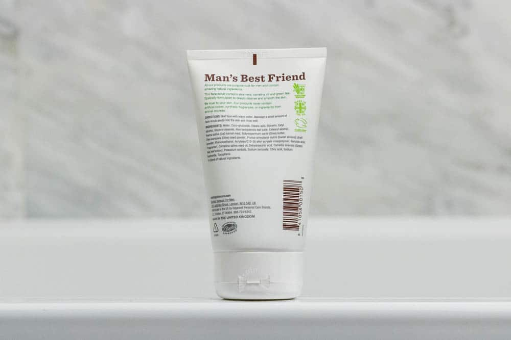 bulldog skincare review - face scrub packaging back label