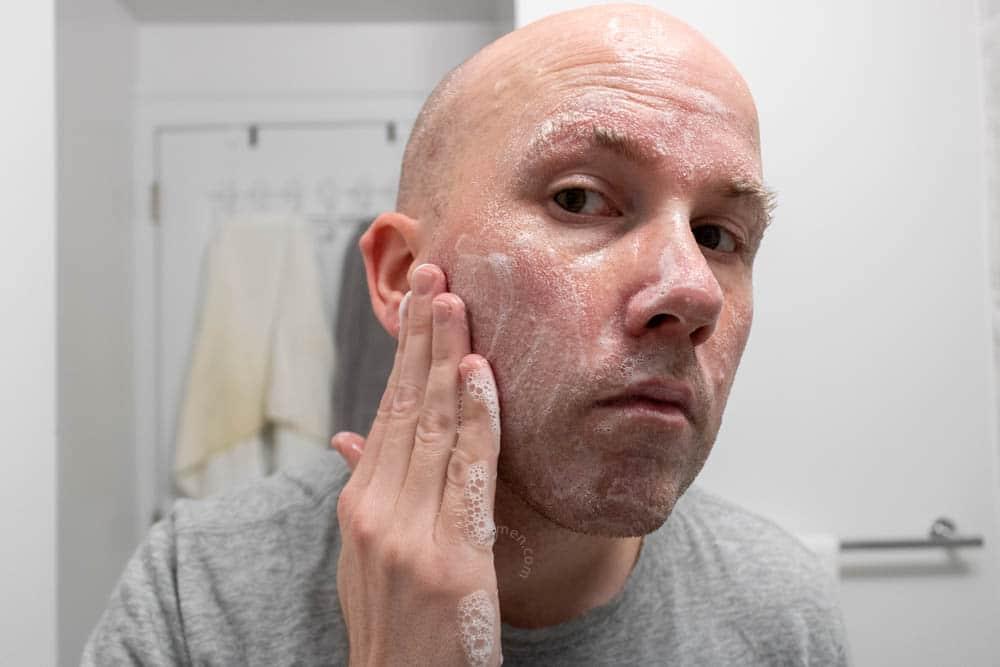 bulldog skincare review - face wash demonstration 1