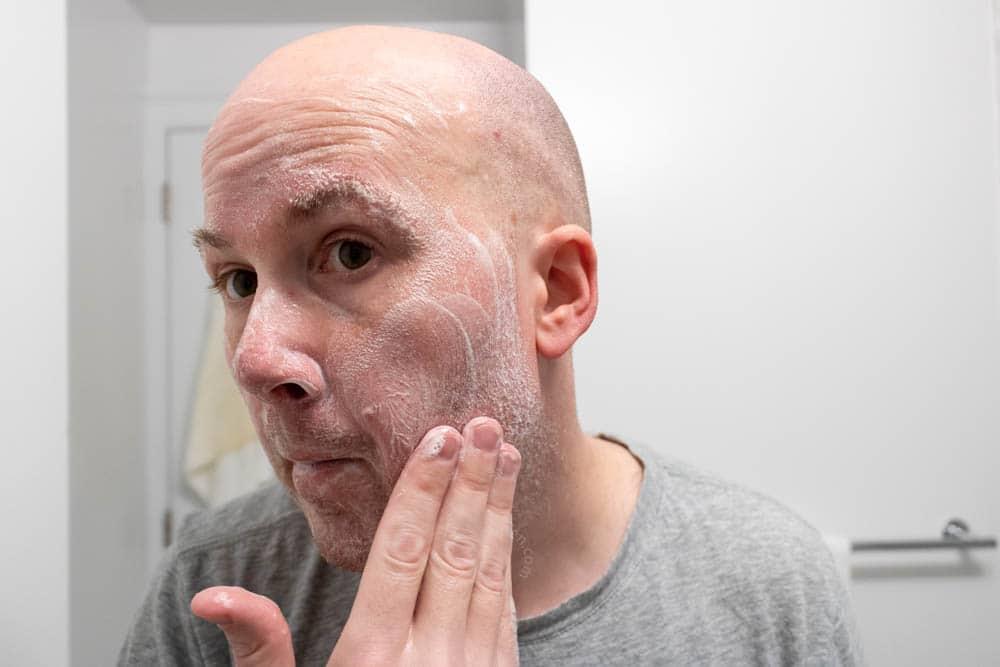 bulldog skincare review - face wash demonstration 2