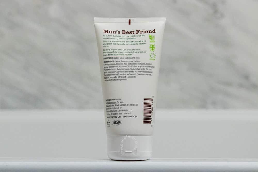 bulldog skincare review - face wash packaging - back