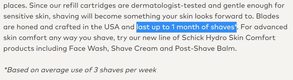 How many shaves per Schick razor
