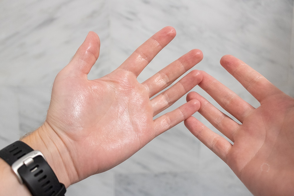rub hands together until oily consistency
