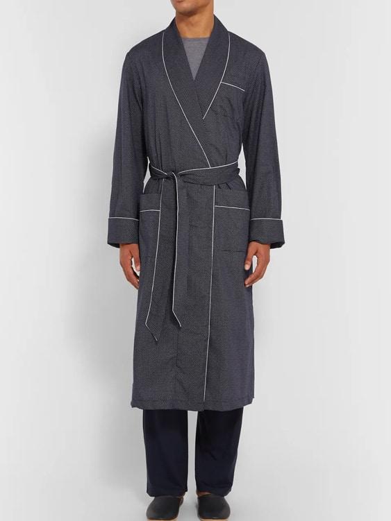 Plaza Polka-Dot Cotton Men's Robe