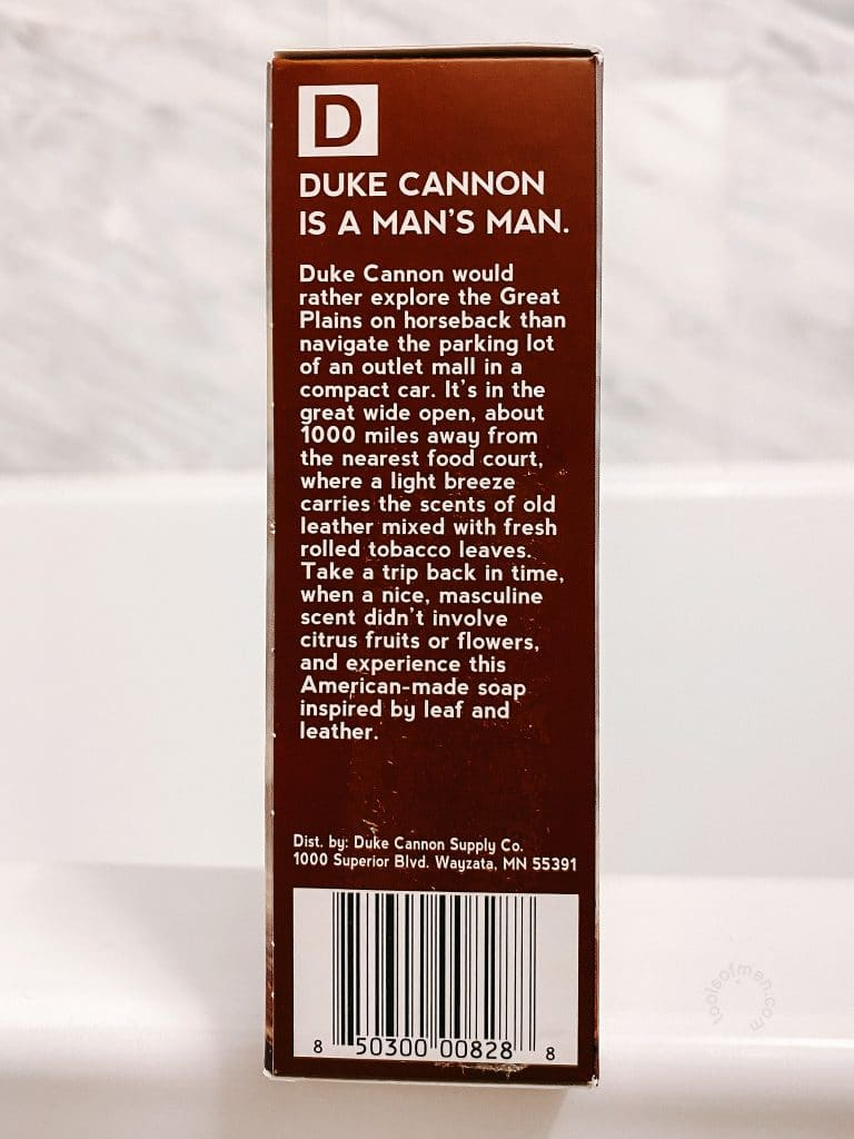 Duke Cannon Big Ass Brick of Soap Packaging Side Panel