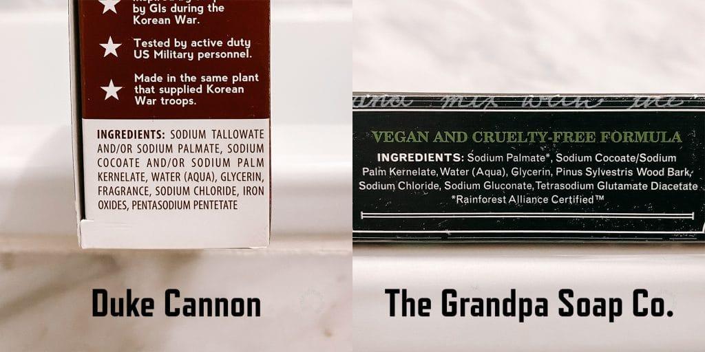 Duke Cannon vs Grandpa Soap Ingredient Comparison